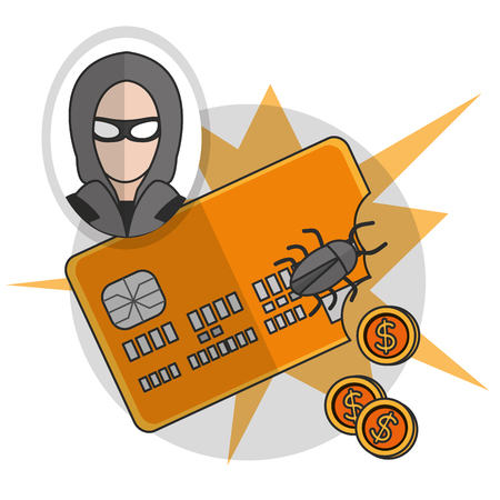Hacker of security system technology and protection theme Vector illustration Çizim