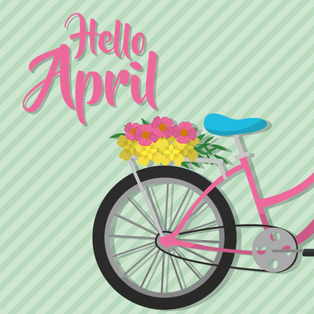 Bike of hello april spring nature garden and floral theme Vector illustration