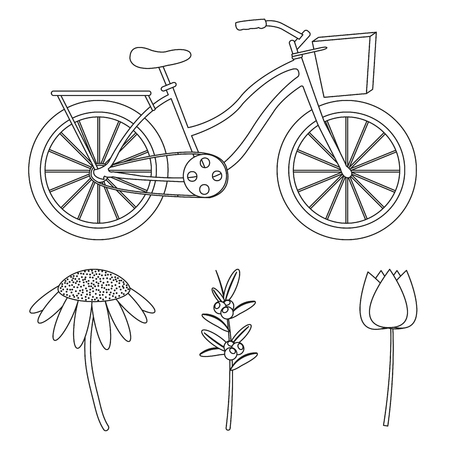 Flowers and bike of hello april spring nature garden and floral theme Vector illustration