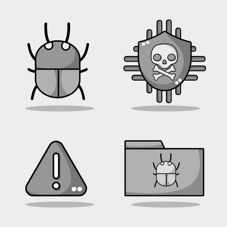 set spectre and meltdown technology virus vector illustration Illustration