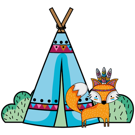 Fox animal with camp design and bushes plant Illustration
