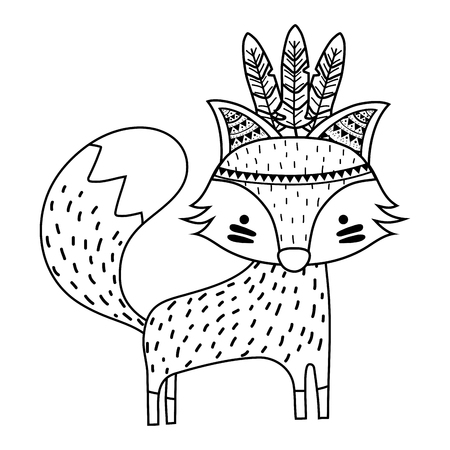 line cute fox animal with feathers design vector illustration Vettoriali