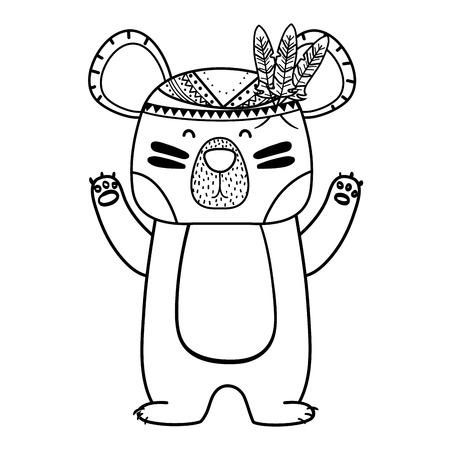 Line cute bear animal with feathers design