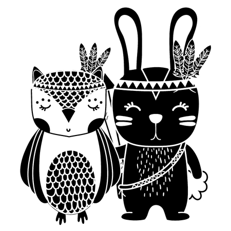 silhouette owl and rabbit animals with feathers design