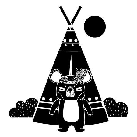Silhouette ethnic bear with camp and bushes plants