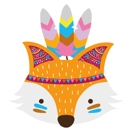 colorful cute fox head animal with feathers vector illustration 向量圖像
