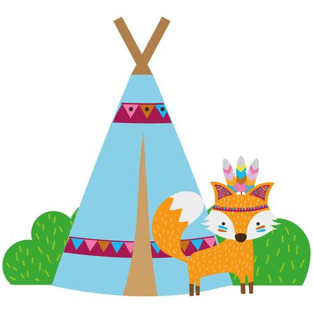 colorful fox animal with camp design and bushes plant vector illustration