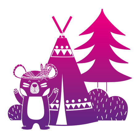 color silhouette bear animal with camp next to bush and pine tree vector illustration