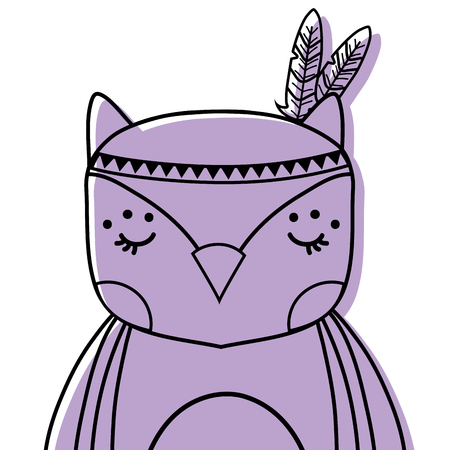 Cute owl animal with feathers decoration vector illustration
