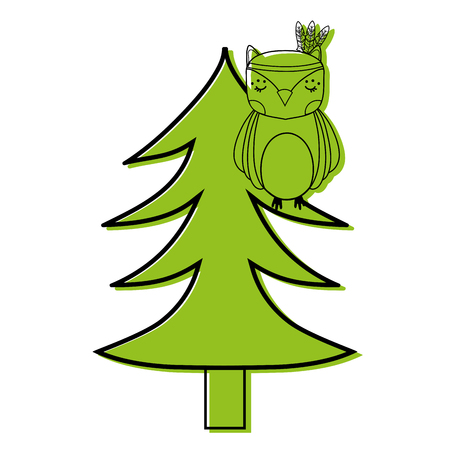 color ethnic owl animal in pine tree