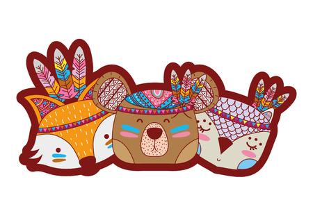 line color animals head friends with feathers design
