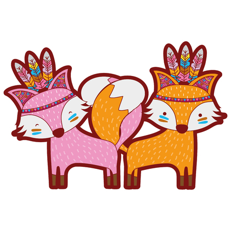 line color fox animals couple together with feathers