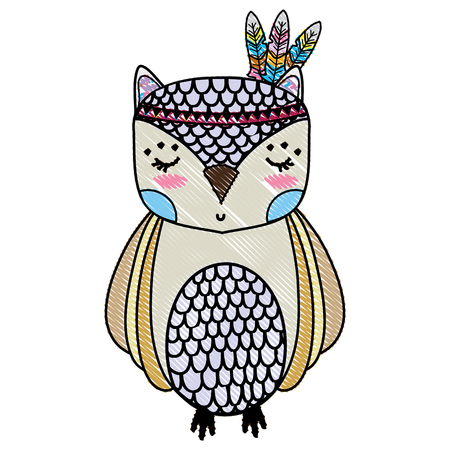 grated cute owl animal with feathers design Vectores