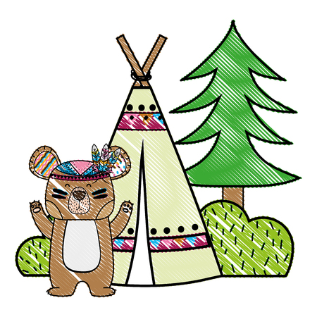 grated bear animal with camp next to bush and pine tree