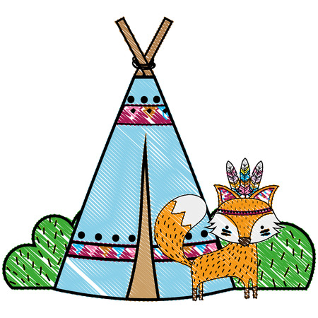 Grated fox animal with camp design and bushes plant vector illustration