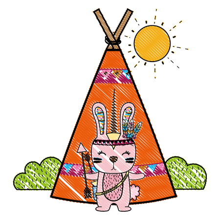 grated rabbit animal with arrows and camp design Illustration