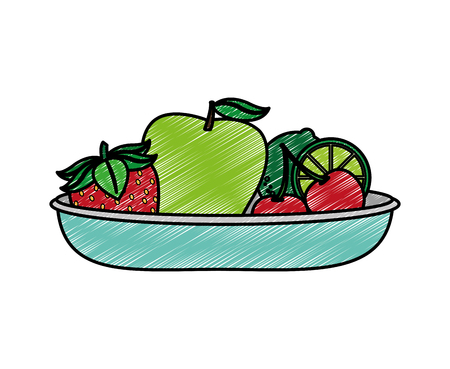 Apple strawberry and cherry of fruit healthy and organic food theme Isolated design Vector illustration