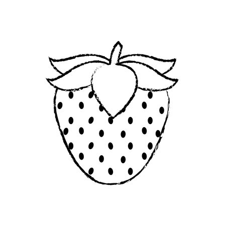 Strawberry of fruit healthy and organic food theme Isolated design Vector illustration