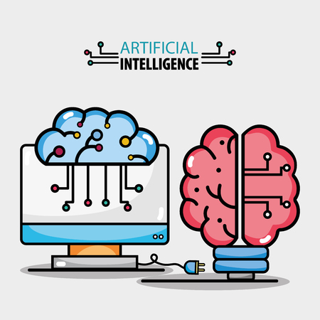 brain circuits artificial intelligence and computer technology vector illustration Çizim