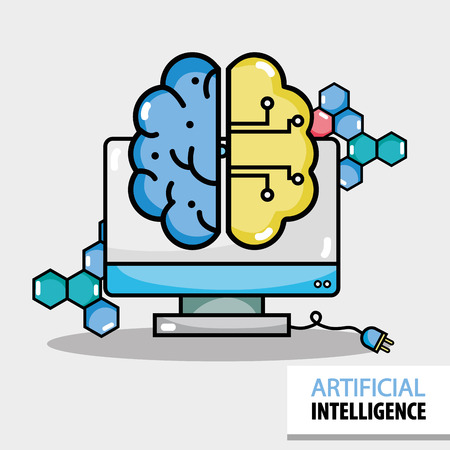 artificial brain circuits with computer technology vector illustration Illustration