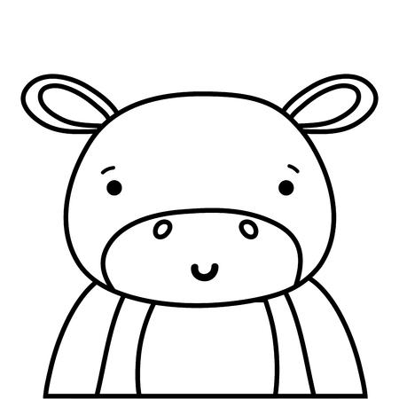 line adorable and happy hippopotamus wild animal vector illustration Illustration