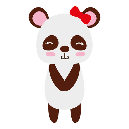 Colorful cute and shy panda female wild animal vector illustration.