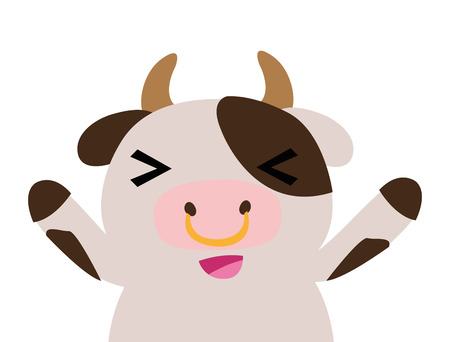 colorful adorable and cheerful cow wild animal