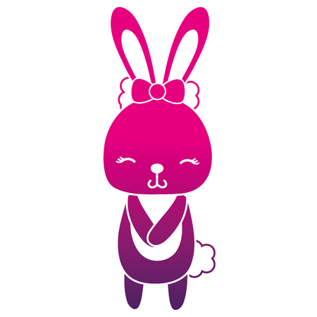 color silhouette cute and shy rabbit female wild animal vector illustration