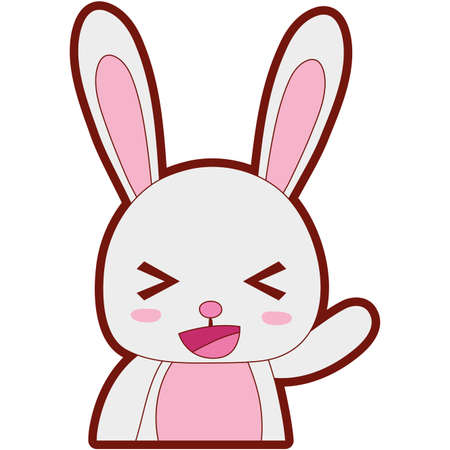 line color adorable and cheerful rabbit wild animal vector illustration Illustration