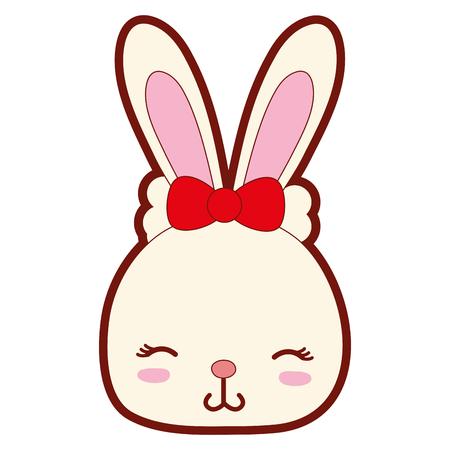 line color shy rabbit head wild animal vector illustration Illustration