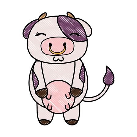 grated cute and shy cow wild animal vector illustration