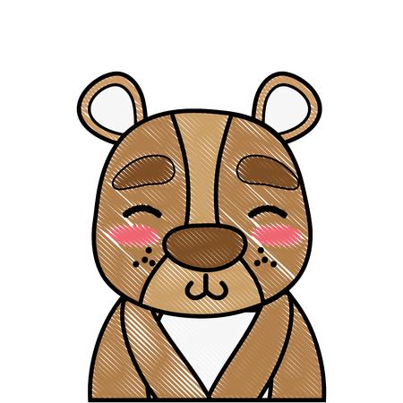 grated adorable and shy bear wild animal Иллюстрация