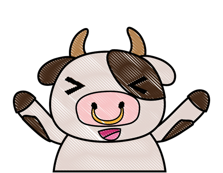 grated adorable and cheerful cow wild animal