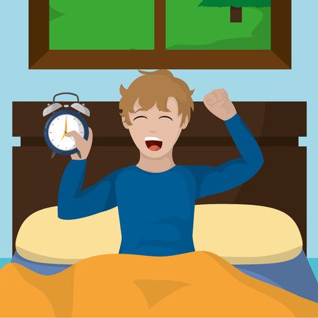 Boy stretching of wake up morning awake and routine theme Vector illustration