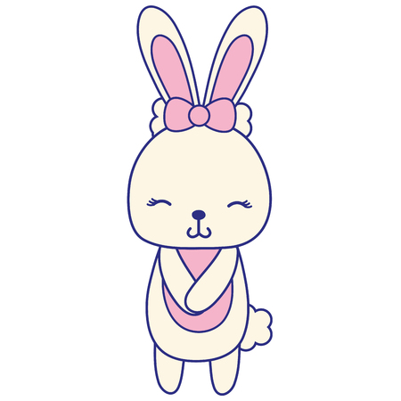 A full colored cute and shy rabbit female vector illustration