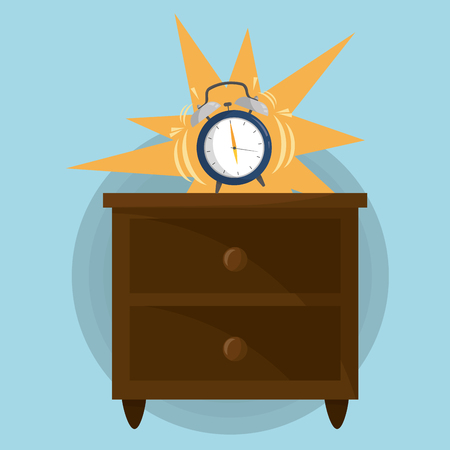 Wake up design alarm on top of a drawer Illustration