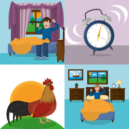 Icon set of morning theme vector illustration Ilustração