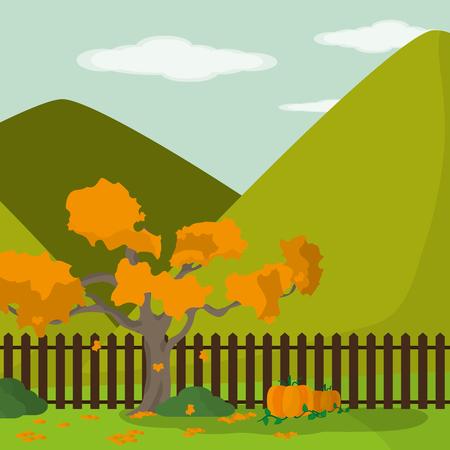 Tree of Autumn season nature and harvest theme Vector illustration
