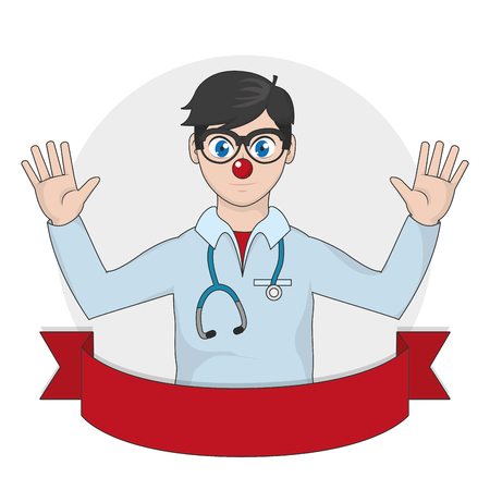 Clown doctor cartoon of medical and health care theme Vector illustration