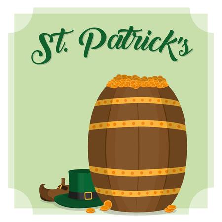 Beer barrel of st patricks day and ireland celebration theme Vector illustration