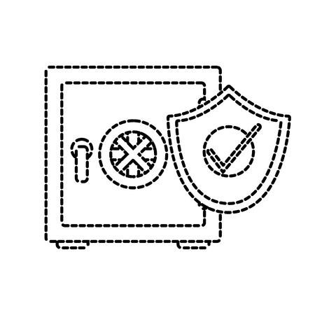 Isolated Vault,  safety box design in broken lines illustration.
