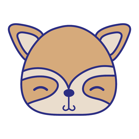 Colorful shy raccoon head wild animal illustration
