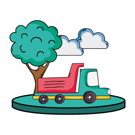 Dump truck in the city with clouds and tree vector illustration