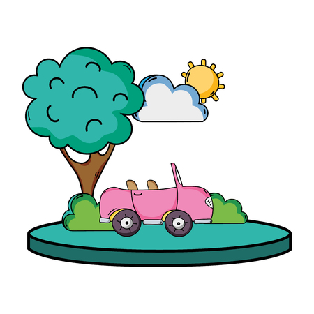 Sports car in the city with tree and cloud