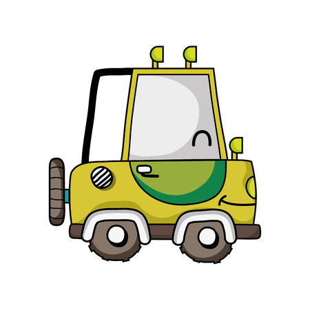 Smiling tractor vehicle illustration