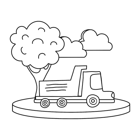 line dump truck in the city with clouds and tree vector illustration