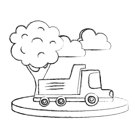Grunge dump truck in the city with clouds and tree Illustration