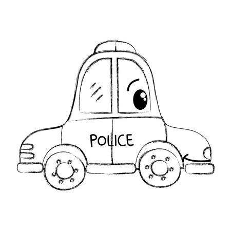 grunge kawaii happy police car transport vector illustration Ilustracja