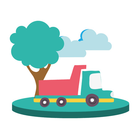 colorful dump truck in the city with clouds and tree vector illustration Illustration