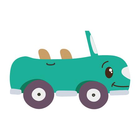 colorful kawaii happy sport car transport vector illustration